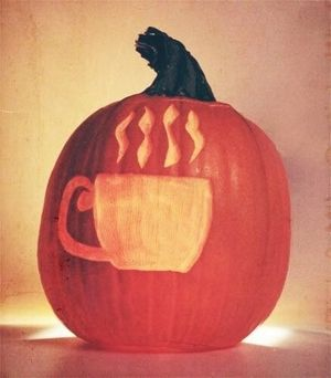 Coffee on a pumpkin