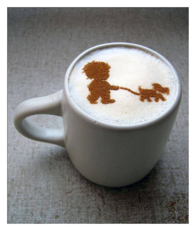 Coffee walking dog
